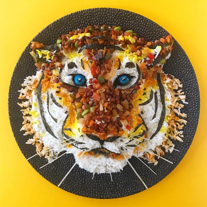 Cách tạo hình đĩa cơm hình động vật nhìn như thật - 4