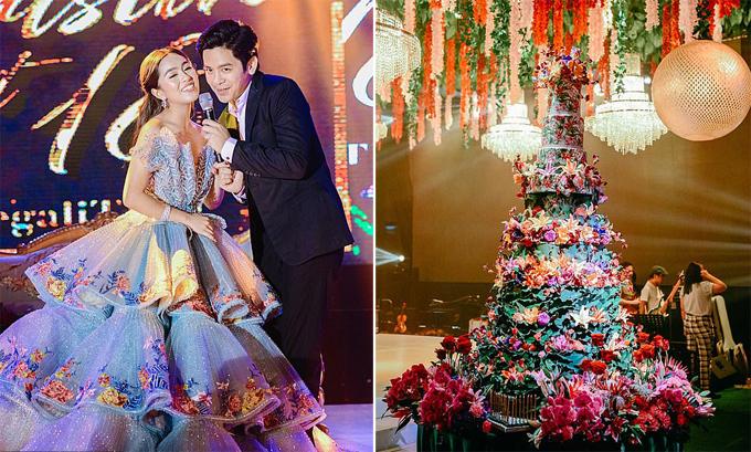 Điểm nhấn trong bữa tiệc của Christine là chiếc bánh 8 tầng được trang trí bằng hoa ăn được trị giá hơn 5.000 USD (phải) và sự xuất hiện của nam diễn viên nổi tiếng Joshua Garcia (trái).