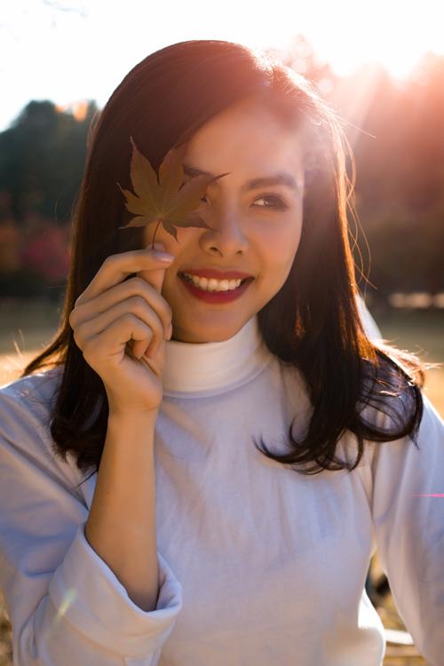 Thiên đường mùa thu đảo Nami khiến Vân Trang lưu luyến. Cô đã có được nhiều tấm hình đẹp khi dạo chơi ở nơi đây.