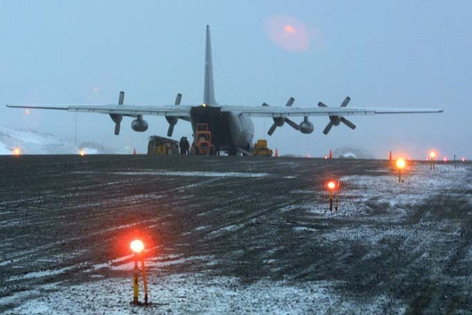 A Chilean C-130 Hercules unloading cargo at Base Antarctica Presidente Eduardo Frei Montalva in Antarctica in 2004