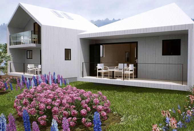 Mỗi biệt thự trong resort thiết kế xinh xắn, thoáng đãng theo phong cách châu Âu với tông trắng chủ đạo, trước cửa trồng nhiều hoa cẩm tú cầu - loài hoa đặc trưng ở Đà Lạt.