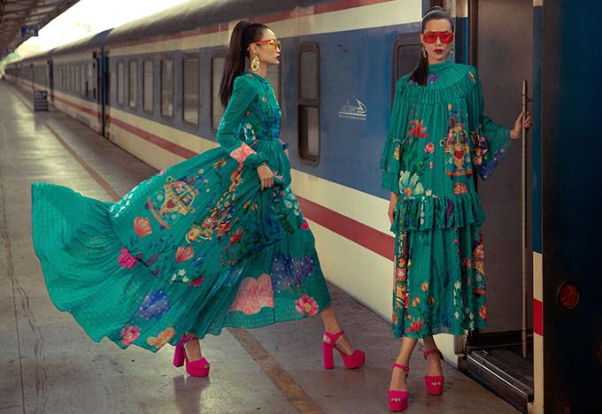 Cùng với các thiết kế tông đường cong và nét sang trọng cho người mặc, váy maxi bay bổng tiện lợi khi đi du lịch, dạo phố cũng được Vũ Ngọc và Son giới thiệu trong bộ sưu tập này.