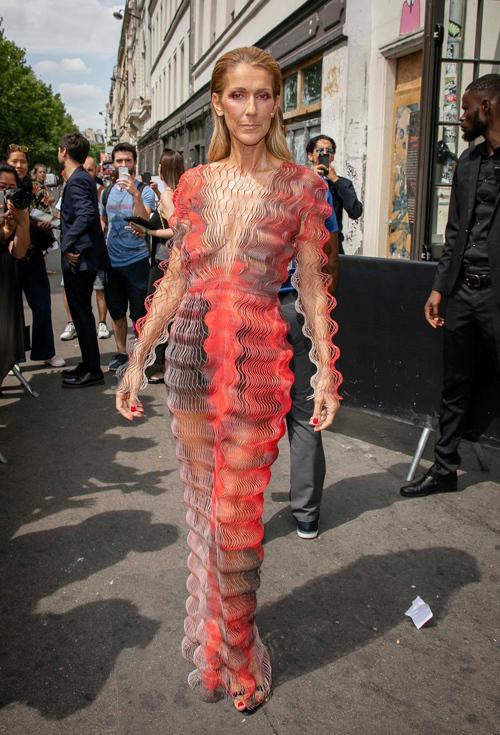 Tương tự, xiêm y của Celine Dion tại Paris Fashion Week năm ngoái cũng biến cô thành tâm điểm nhờ hiệu ứng thị giác ấn tượng.