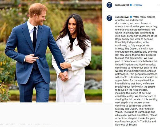 Nhà Harry đăng tuyên bố trên tài khoản Instagram.
