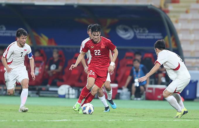 U23 Việt Nam thua ngược Triều Tiên dù sớm vượt lên dẫn trước do công của Tiến Linh. Ảnh: Đức Đồng.