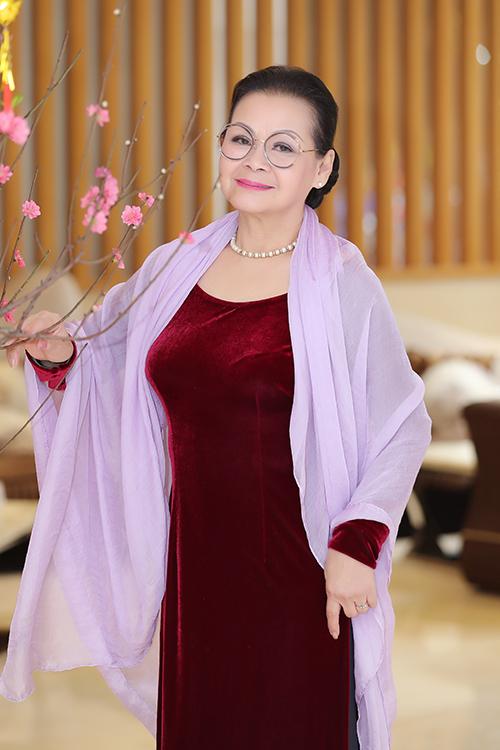 Danh ca Khánh Ly tại buổi gặp gỡ báo chí cuối tháng 1/2020 ở Hà Nội.