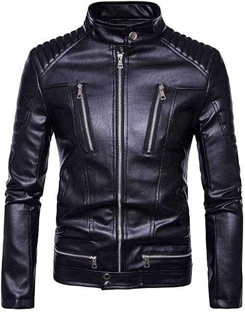 Áo khoác da phong cách Hàn QuốcAKD018có chất da mềm, độ bền cao và chống lạnh. Vải lót dù thoáng mát và ấm, hợp với mùa thu đông lẫn xuân. Sản phẩm lọt top bán chạy trên Shop VnExpress mùa valentine,có giá499.000 đồng, được tặng kèm một đôi tất (vớ).
