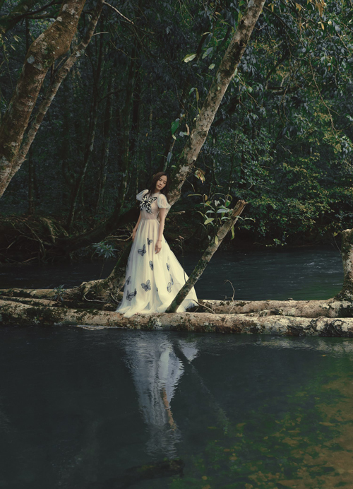 Váy dạ hội thiết kế trên chất liệu vải lưới trắng được đính kết cánh bướm màu tương phản nổi bật giúp Nam Em thả dáng bên suối vắng.