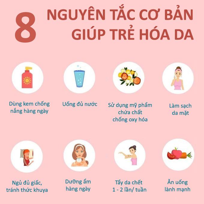 8 nguyên tắc giúp da lão hóa ngược