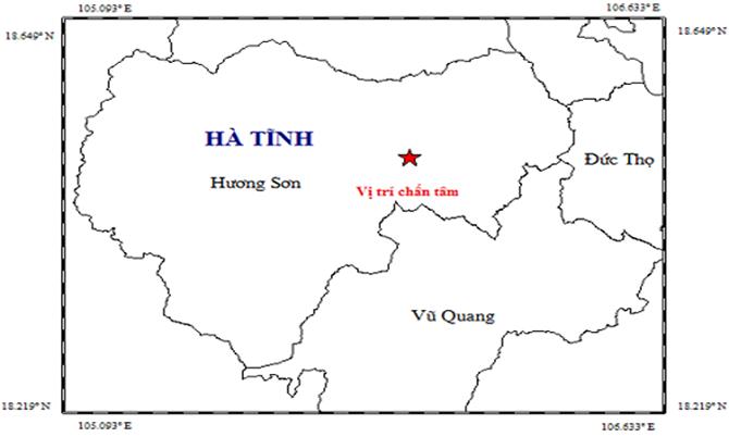 Vị trí động đất tại huyện Hương Sơn. Ảnh: Viện Vật lý Địa cầu