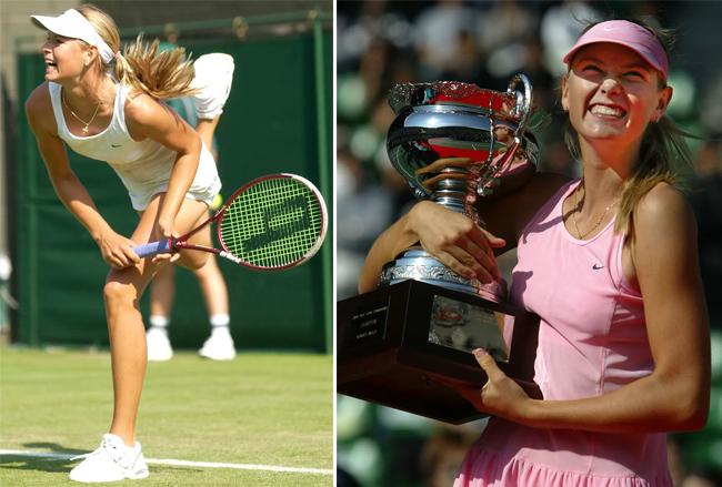 Tại Wimbledon 2003, Sharapova được góp mặt nhờ suất đặc cách (ảnh trái). Trong lần đầu tiên ra sân ở một giải đấu lớn, Búp bê Nga vào tới vòng 4, đánh bại cả hạt giống số 11 khi đó là Jelena Dokic - chiến thắng đầu tiên của Sharapova trước một đối thủ trong top 20. Tháng 10/2003, cô gái Nga giành được danh hiệu WTA đầu tiên sau khi vượt qua Aniko Kapros 2-6, 6-2, 7-6 ở chung kết giải Nhật Bản mở rộng tại Tokyo. Thành công đầu tiên giúp Sharapova lọt vào top 50.