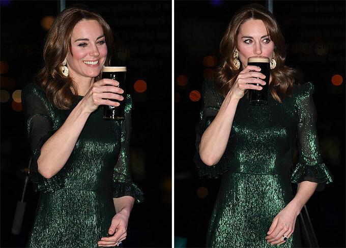 Nữ công tước xứ Cambridge diện váy màu ngọc lục bảo nổi bật trị giá 2.000 USDcủa nhà thiết kế thời trang The Vampires Wifevà đeo khuyên tai vàng to bản. Cô nhấp thử một ngụm bia của Guinness.