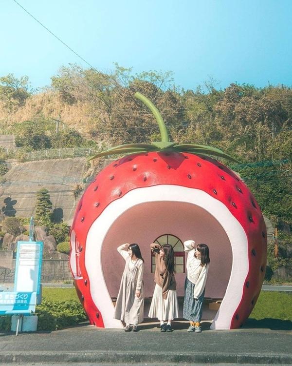 Sống ảo ngay nhà chờ xe buýt hoa quả tại Nhật Bản - ảnh 3