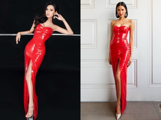Chiếc váy này từng được Hoàng Thuỳ (phải) chuẩn bị mang đi dự thi Miss Universe 2020. Vì hạn chế kinh phí, Hoài Sa nhờ đến sự giúp đỡ của các nhà thiết kế và quyết định chọn mẫu váy này cho đêm thi bán kết tối 5/3.