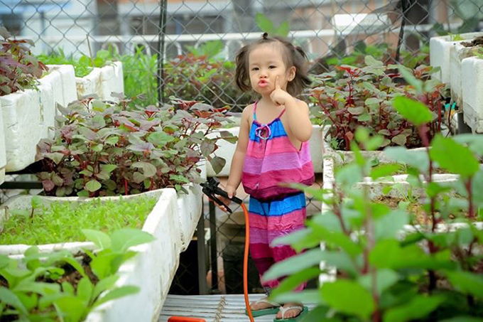 Vườn rau, hoa sân thượng cũng là sân chơi của hai con gái anh Phong. Các bé rất vui khi được bố mẹ cho tưới cây. Đây cũng là cách mà anh hạn chế việc chơi điện thoại của con, dạy con về tình yêu thiên nhiên, thế giới xung quanh.