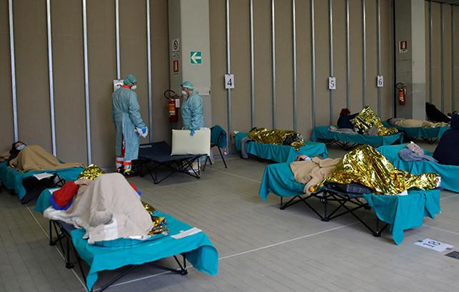 Một phòng bệnh dựng tạm dành cho bệnh nhân Covid-19 ở bệnh viện Brescia, miền bắc Italy. Ảnh: NYT.