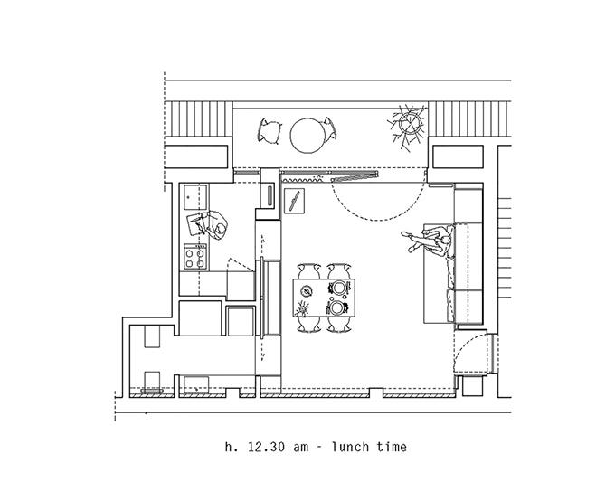 Sơ đồ 2D về diện mạo căn hộ vào buổi trưa.
