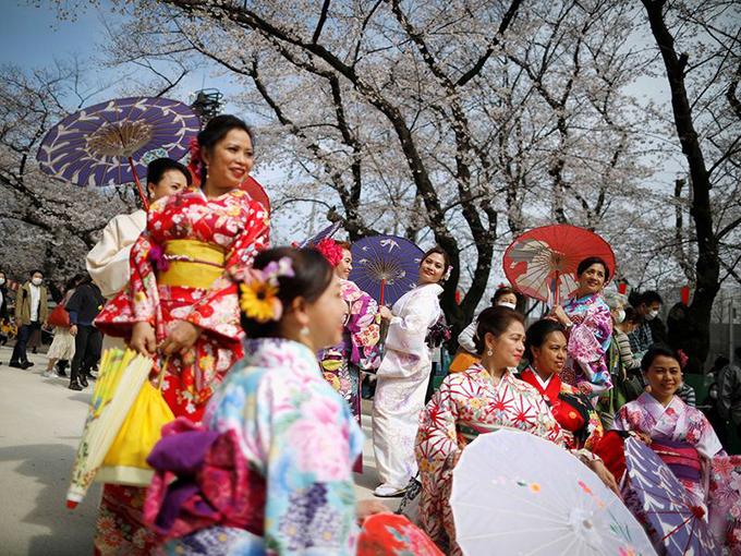 ÔngYuriko Koike, thị trưởng Tokyo, thừa nhận, việc tổ chức những bữa tiệc hoa anh đào ở Nhật Bản giống như một hành động tích cực, chia sẻ với những người dân Italy đang trải qua dịch bệnh. Tuy nhiên, ông cũng kêu gọi mọi người tránh tụ tập quá đông người và ăn uống dưới tán hoa anh đào như truyền thống mọi năm. Tôi đến đây mỗi năm và nếu năm nay không làm vậy thì sẽ nhớ vô cùng, anhEtsuo Fujisawa, một người dân Tokyo cho biết. Công viên Ueno là điểm tham quan, ngắm hoa nổi tiếng với 800 gốc cây đang trổ bông. Người dân vẫn tổ chức nhiều hoạt động, diện kimono chụp ảnh như mọi năm.