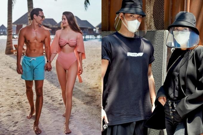 Đầu tháng 3, Hồ Ngọc và Kim Lý (ảnh trái) có chuyến du lịch tại Maldive nhân dịp được nghỉ dài vì dịch.
