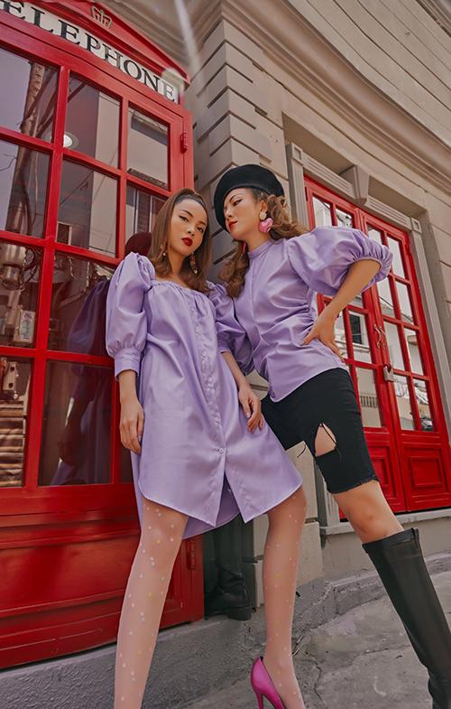 Xu hướng tay bồng được Yến Trang và Yến Nhi thể hiện cuốn hút qua các kiểu đầm cài nút, áo siết eo dễ ứng dụng.