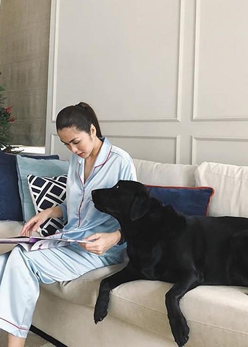 Cùng với dòng váy áo tối giản, pyjama là trang phục được ưa chuộng nhất của Tăng Thanh Hà. Khi ở nhà, gần như cô chỉ chọn trang phục này.