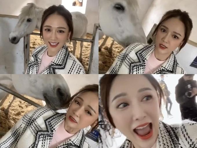 Tại bối cảnh trang trại ngựa, người đẹp Đài Loan hí hửng chụp hình cùng một chú ngựa trắng. Tới khi bị bạn diễn liếm mặt, cô mới sợ hãi hét lên. Biểu cảm này của Trần Kiều Ân làm nhiều người buồn cười.