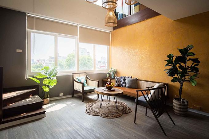 Tầng 6 của căn nhà mang xu hướng vintage còn tầng 7 mang phong cách hiện đại, được cải tạo trong 2 tháng, hoàn thiện năm 2018.