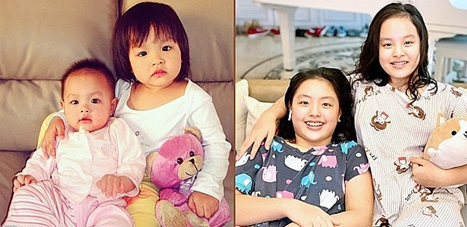 Hai con gái của Thúy Hạnh ngày ấy và bây giờ: Suti 6 tháng, Suli 2 tuổi vàSuti hơn 11 tuổi, Suli 13 tuổi.
