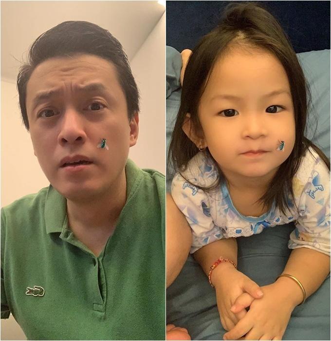 Ca sĩ Lam Trường nghịch đủ trò cùng con nhưng béBì không sợ mà còn thích thú.