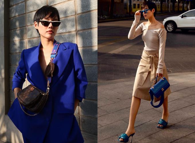 Nổi tiếng với danh xưng 'cô em trendy', Khánh Linh sở hữu nhiều thiết mới nhất từ các thương hiệu nổi tiếng như Louis Vuitton, Chanel, Dior, Fendi... Không chỉ nhanh chóng bắt kịp xu hướng, người đẹp còn có gu thời trang cá tính. Cô thường khoe những màn phối đồ hiệu cực chất trên Instagram.