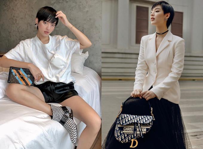 Áo thun trắng của nhà mốt Louis Vuitton với hoạ tiết monogram dập nổi, phối cùng quần da, tạo sự năng động cho nữ fashionista. Phần túi hộp có thể tháo rời, thay đổi vị trí dán khiến chiếc áo bớt nhàm chán. Ngoài ra, cô còn sở hữu bộ sưu tập túi Saddle từ thương hiệu Dior với nhiều kích thước, hoạ tiết khác nhau.
