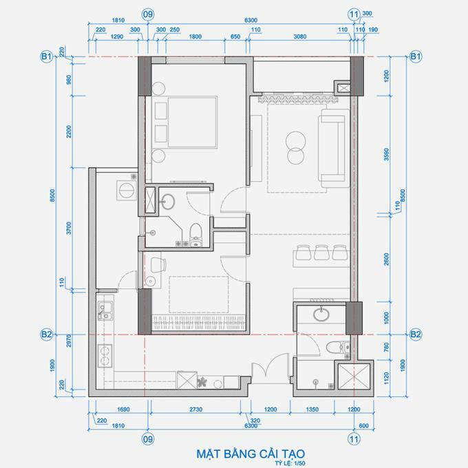 Mặt bằng cải tạo của căn hộ. Phòng ngủ nhỏ được biến thành phòng thay đồ và để gia chủ làm việc, trang điểm, là nơi cho khách hoặc người giúp việc tới nghỉ lại.