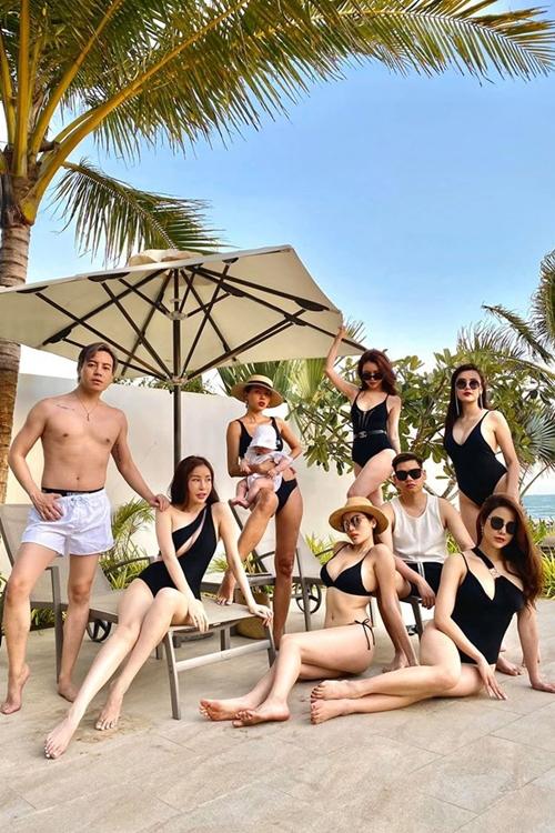 Tham gia nhóm bạn thân của Kỳ Duyên còn có stylist Mạch Huy, hoa hậu Lam Cúc (từ trái qua). Họ có thói quen cùng nhau đi du lịch tại các resort sang chảnh vào dụp sinh nhật của mỗi thành viên trong nhóm.