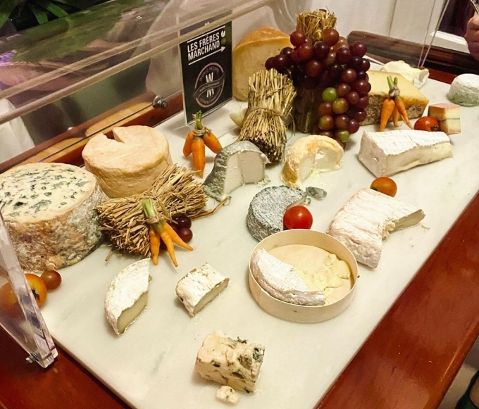 [Caption]Ring in the   in style at   with famous cheese trolley is stocked with   ' finest selection of French cheeses. The cheese is a lovely example of the velvety texture that a good blue can have. It is made from ewe's milk and has strong blue veins running throughout the creamy cheese. Chef Thierry Mounon describes the cheeses he has selected for La Villa from Les Freres Marchand as     . Come to La Villa to try the flavourful and artisanal cheesemongers, this will satisfy any cheese lovers.