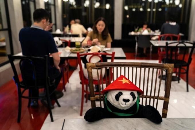 Được phép mở cửa trở lại sau khi chính phủ Thái Lan thông báo nới lỏng giãn cánh xã hội, một nhà hàng món Việt Nam ở Bangkok đã nghĩ ra cách đặt những chú gấu trúc nhồi bông trên ghế để làm bạn với thực khách.