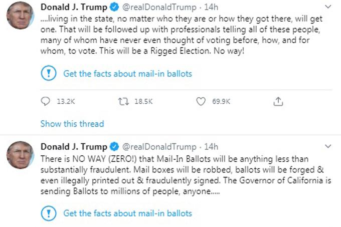 Hai bài đăng bị dán nhãn cảnh báo của ông Trump hôm 26/5. Ảnh: Twitter.