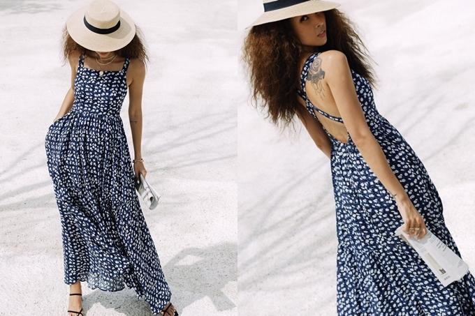 Người đẹp không bỏ qua các thiết kế hở lưng, tạo sự thoải mái. Nón cói là phụ kiện không thể thiếu với cô trong ngày hè nắng nóng.