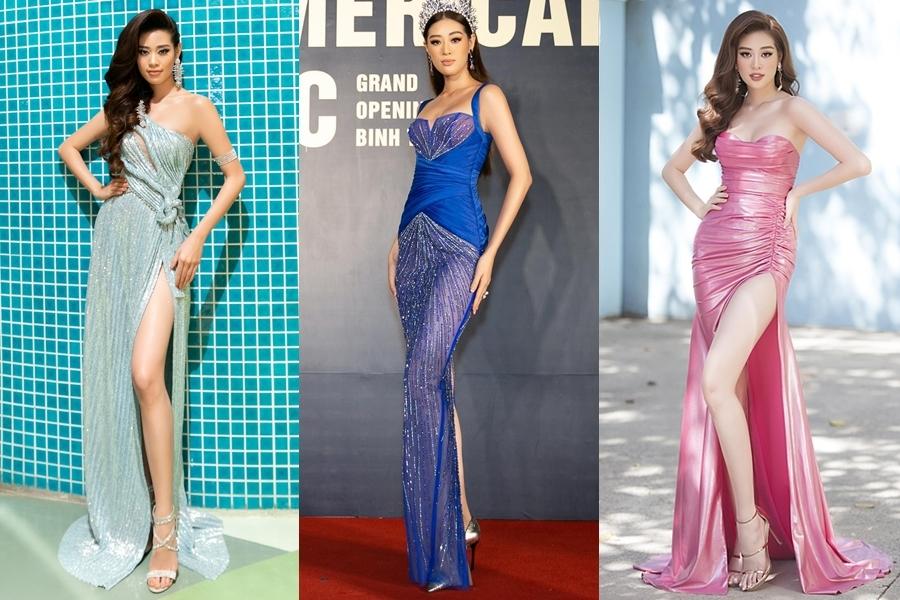 Với thời trang thảm đỏ, Khánh Vân ưu tiên chọn váy ôm tôn dáng hoặc xẻ tà khoe chiều cao 1,76m. Cô thử nghiệm nhiều gam màu khác nhau, giúp hình ảnh luôn đa dạng xuất hiện trước công chúng.