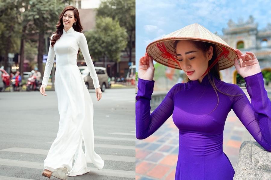 Những dịp đặc biệt, Khánh Vân diện áo dài bởi cô yêu thích trang phục dân tộc và ba lần chiến thắng danh hiệu Mặc áo dài đẹp nhất tại các cuộc thi nhan sắc.