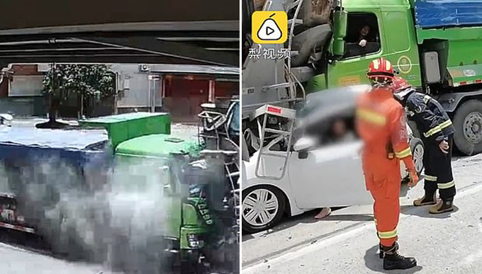 Xe tải bốc khói sau tai nạn (trái) và lực lượng cứu hộ đưa hai nạn nhân thoát chết ra khỏi xe hơi màu trắng. Ảnh cắt từ video.