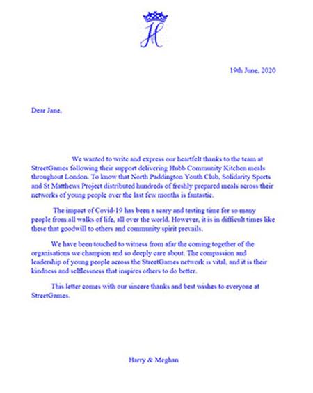 Bức thư nhà Harry - Meghan gửi cho StreetGames. Ảnh: Daily Star.