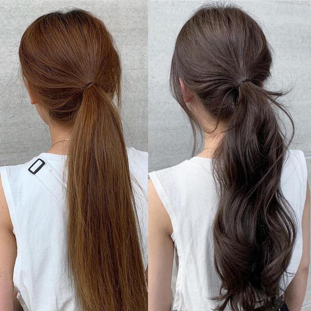 Uốn xoăn nhẹ phần đuôi tóc giúp kiểu tóc buộc thấp trông sành điệu hơn.