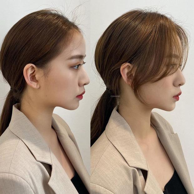 Thả vài lọn tóc mái để tạo độ mềm mại cho kiểu tóc.
