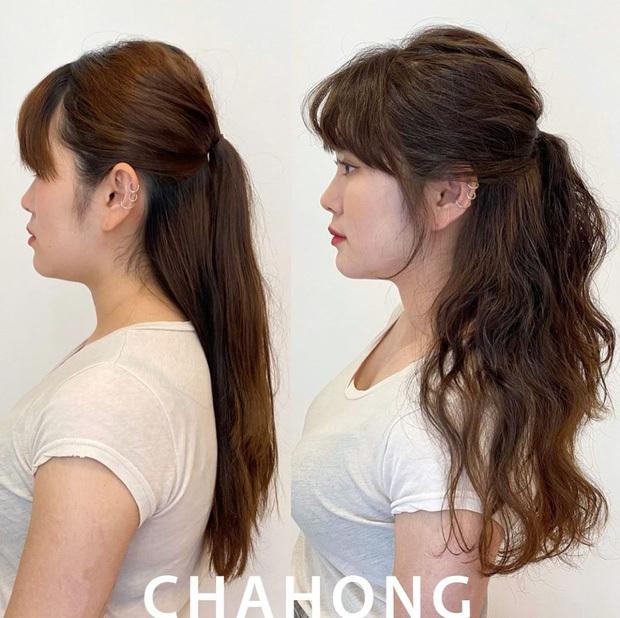 Uốn xoăn lọn nhỏ và đánh rối ở chân tóc giúp che khuyết điểm đầu bẹp.