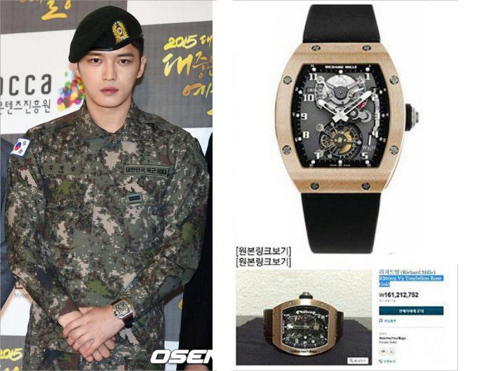 Kim Jae Joong - cựu thành viên nhóm nhạc DBSK - cũng là một cái tên đình đám trong giới nghệ sĩ chơi đồng hồ xa xỉ. Anh sẵn sàng chi 3,3 tỷ đồng cho một tác phẩm Richard Mille. Dù vậy, mỹ nam sinh năm 1986 từng chịu chỉ trích khi đeo nó tại sự kiện trong quân ngũ.