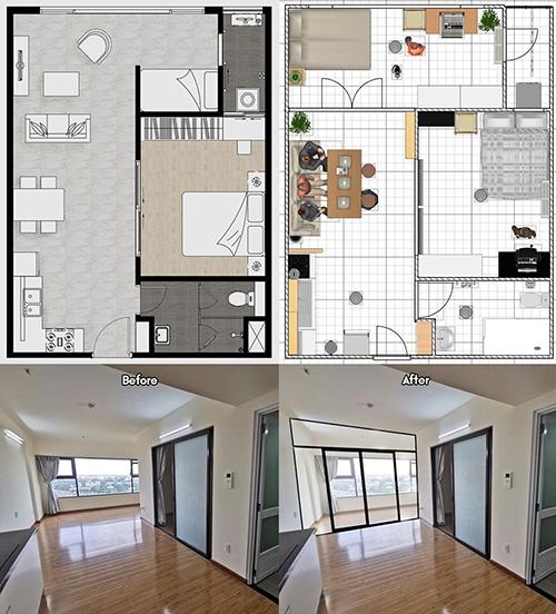 Phòng khách trước và sau khi dựng vách kích. Không gian sinh hoạt chung sau khi ngăn vách có diện tích 3x5,5 m, vừa chứa bếp, bàn ăn, bộ sofa tiếp khách.