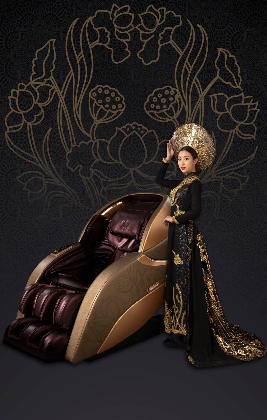Dự án bộ ảnh áo dài Việt bên ghế massage của Đỗ Mỹ Linh kết hợp cùng Kingsport có ý nghĩa tượng trưng cho ngai vàng, tôn vinh phụ nữ Việt với 3 giá trị sống: Sức khoẻ, nhan sắc và trí tuệ.