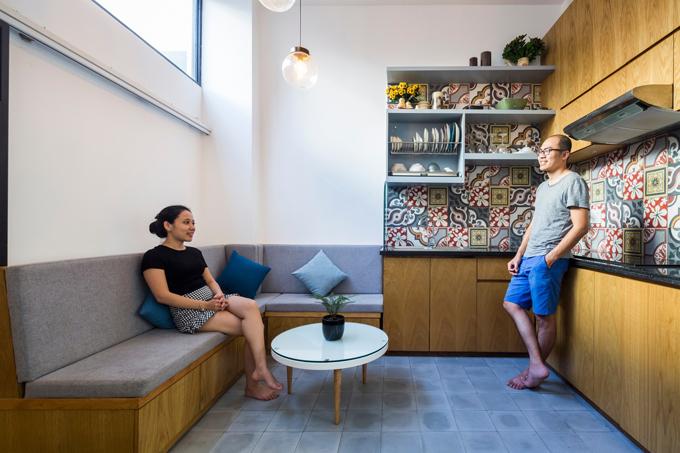 Mặc dù diện tích nhà ở có hạn nhưng nhóm KTS vẫn cố gắng dành ít không gian cho cây xanh để giảm tính chất ngột ngạt của nhà ở đô thị.