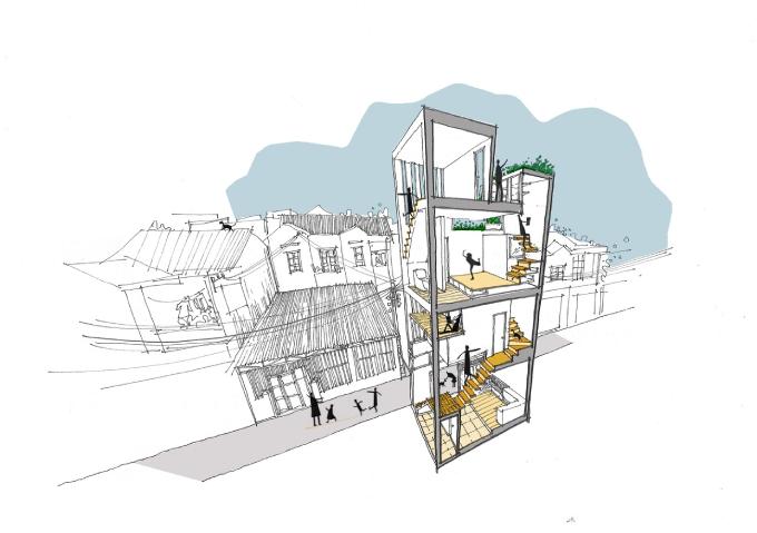 Vì sự giới hạn chiều cao nhà ở theo quy định của nơi cư trú, ngôi nhà chỉ được xây 3 tầng. Kết quả là, nhóm KTS không chọn thiết kế lõi nhà theo chiều dọc. Thay vào đó, nhóm đã tạo nên hệ thống cầu thang uốn quanh lõi nhà, tận dụng không gian dưới gầm cầu thang để lưu trữ đồ đạc, làm thành nhà vệ sinh, phòng tắm. Hơn nữa, kiểu cầu thang này cũng tạo nên không gian cho giường tầng, gác lửng đọc sách.