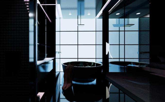 Khu vực phòng tắm cũng mang sắc đen chủ đạo.